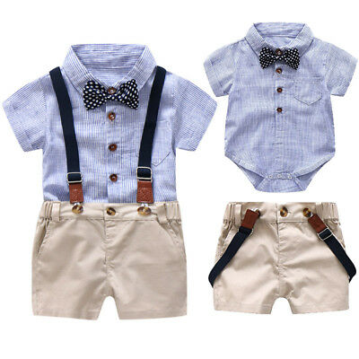 2pcs Toddler Kid Baby Boy Short Sleeve Romper Jumpsuit Shirt+Overall Shorts Set