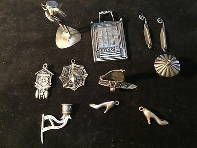 11 sterling silver miniatures toys charms doll house , surfer is 1""