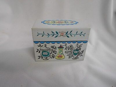 vintage Chein metal tin kitchen recipe box spice jar theme design turquoise
