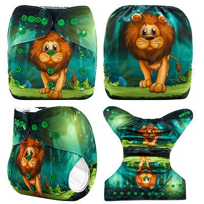 Modern Cloth Reusable Washable Baby Nappy Diaper & Insert, Lion and Jungle