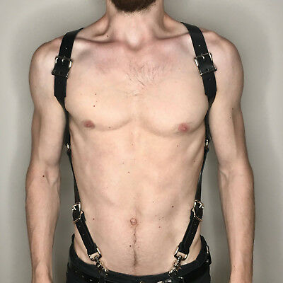 Men Leather Harness Body Chest Armor Buckle Adjustable Strap Belt Club Costume