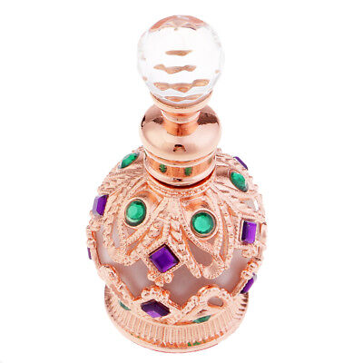 Retro Essential Oil Perfume Bottle Glass Metal Decorative Gift Rose Gold