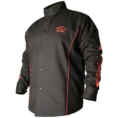 BLACK STALLION BSX FR Welding Jacket - Black w/Red Flames - MEDIUM New