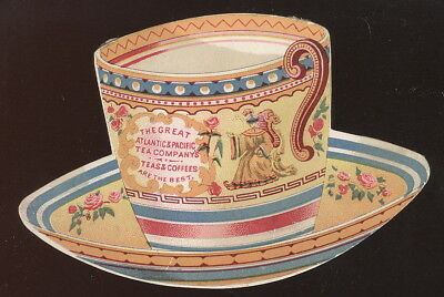 1890S Die Cut Cup & Saucer Tc, Atlantic & The Great Pacific Tea Co. Advertising