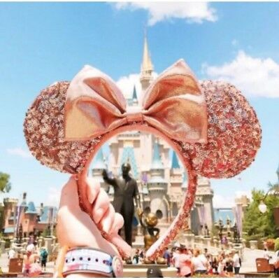 Disney PARKS Rose Gold Minnie Mouse Ears Sequin Headband *NEW* SOLD OUT PARKWIDE