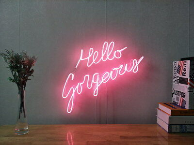 New Hello Gorgeous Neon Sign For Bedroom Wall Decor Artwork With Dimmable Dimmer