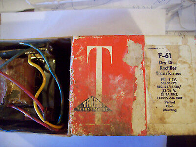 NOS Triad F61-U Transformer, 115V Primary, 24/27/30/33/36V Secondary at 3A RMS.