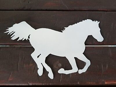 Mustang Horse Metal wall art  Pearl White finish- Country western home decor