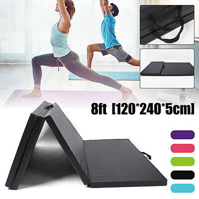 Large 8FT 4-Folding Thick Yoga Exercise Floor Mat Gym Fitness Dance Training Pad