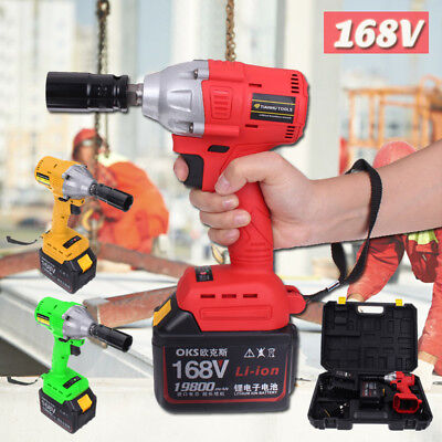 168V Brushless Electric Cordless Impact Wrench High Torque Drill 19800mA Battery