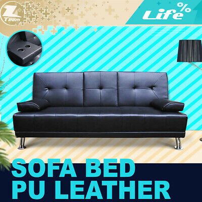 New Sofa Bed PU Leather Three Seat  Futon Couch 2 Cup Holder Black color