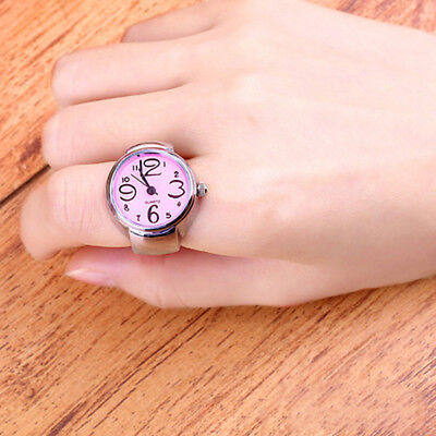 Creative Women Girl Steel Round Elastic Quartz Finger Ring Watch Hot