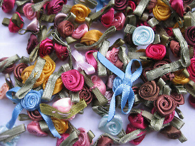 Satin Ribbon Flowers  gold blue pink coffee burgundy approx 9-11mm 80 pieces