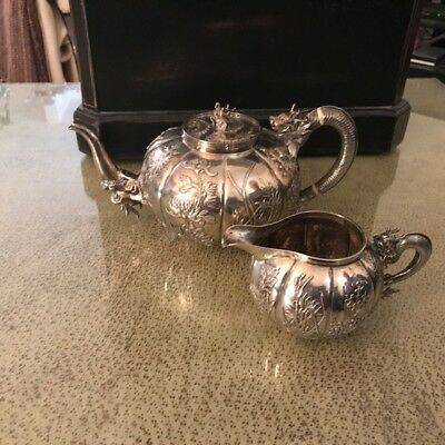 Chinese Export Sterling Silver Teapot & Creamer Set