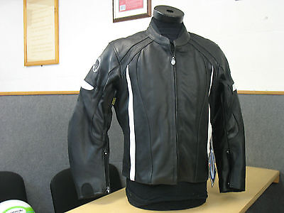 Black & White Ladies Leather Motorcycle Jacket Ce Armoured Lined Uk 10 12 - New