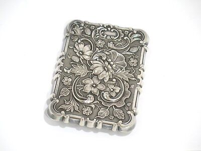 "3 5/8"" Sterling Silver Antique English Battle Abbey Sussex Floral Card Case/Box"