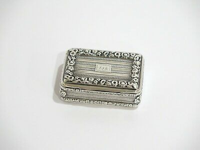 """2.75"""" Sterling Silver Gilded Interior Antique English Thick Floral Rim Snuff Box"""