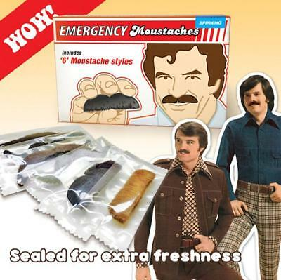 6 Stick On Moustaches Fancy Dress False Individually Sealed Black Brown Grey