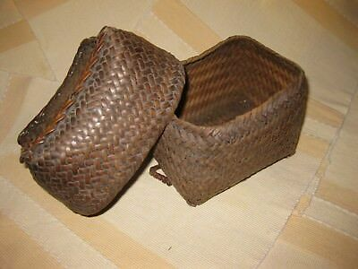 Pair of Antique Nesting Wicker Sewing Baskets