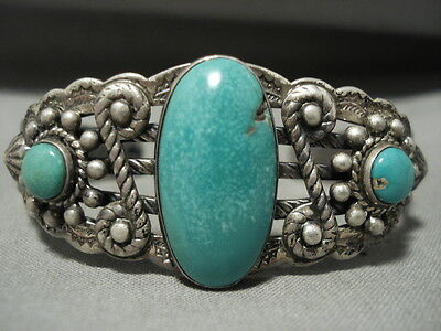 Early 1900's Vintage Navajo Turquoise Silver Swirl Bracelet Old