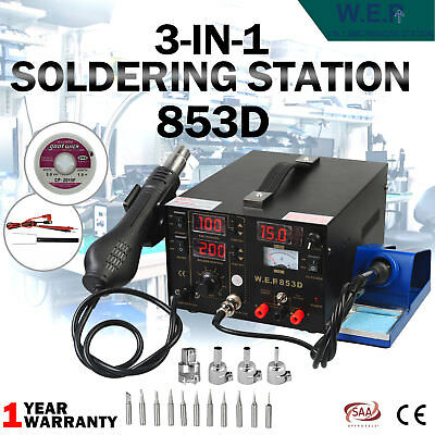 3 IN 1 Soldering Iron Station 853D SMD Solder Rework Hot Air Gun DC Power Supply