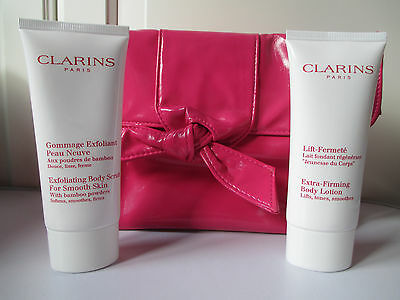 HotPink Clarins MakeUp Bag Extra Firming Lotion Body 100ml Exfoliating Scrub NEW