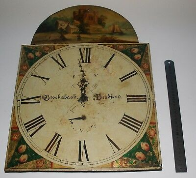Grandfather clock dial. Painted on metal. Brooksbank of Bradford. For renovation
