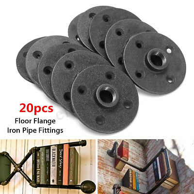 20Pcs 1/2'' Black Malleable Threaded Floor Flange Iron Pipe Fittings Wall Mount