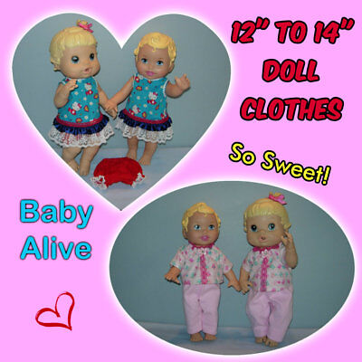 """Sweet Clothes for 12"""" to 14"""" Dolls inc BABY ALIVE Handmade the Crafty Grandmas"""