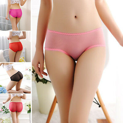Women Sexy Lingerie Underwear Low Waist Triangle Briefs Solid Color One Size