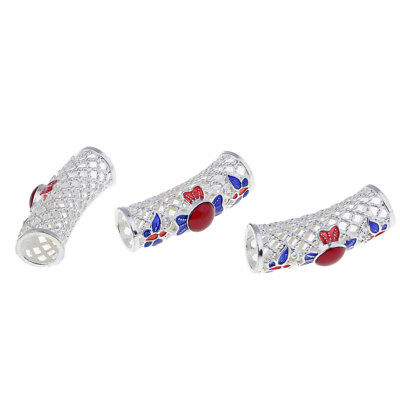 3 Pcs Curved Stones Enamel Bracelet Charms Tubes Spacer Beads DIY Bracelets