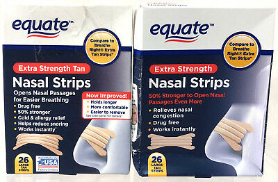 (52) Equate Nasal Strips Extra Strength Large Tan Strips