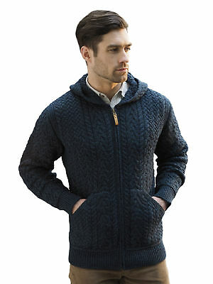 c9a1dc920 SAOL MENS IRISH Merino Wool Cardigan Shawl Collar Front Pockets Aran ...