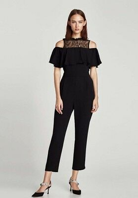 2d7996523852 ZARA WOMEN BLACK Jumpsuit With Lace And Ruffle Size M NWT -  99.95 ...