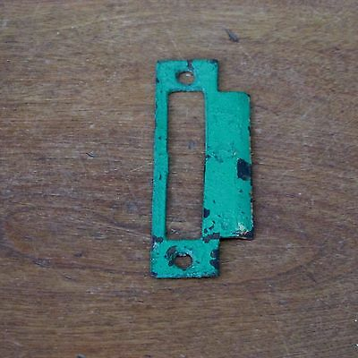 Antique Victorian Cast Iron Metal Strike Plate with a Wide Tongue in Green Paint