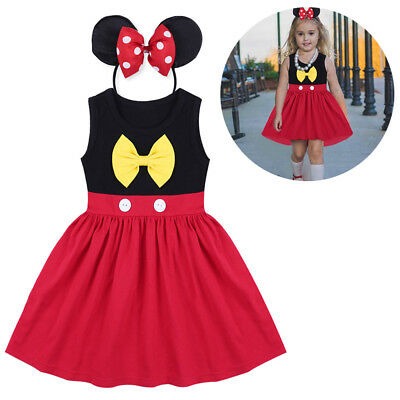 Mickey Mouse Baby Infant Toddler Girls Dress with Bowknot Ear Headband Costume