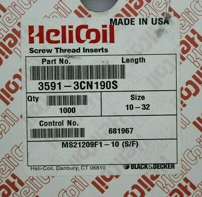 Helicoil MS21209F1-10 Screw Thread Inserts 10-32, Lot of 1000 Pieces, NEW