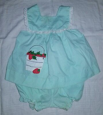 Vintage Cuties by Judy 3T strawberry swing top bloomers outfit green pinafore