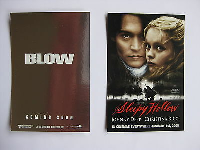 SLEEPY HOLLOW, BLOW Orig Australian movie postcards Johnny Depp Tim Burton
