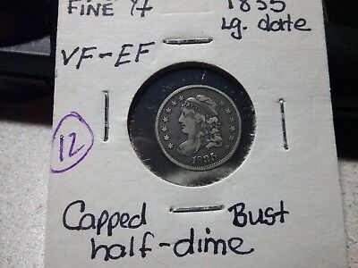 1835 Capped Bust Half Dime, Choice Early Silver Extra fine  lg date very fine