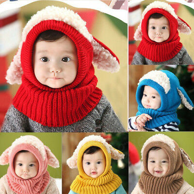 Kids Cute Baby Toddler Winter Beanie Warm Hat Hooded Scarf Earflap Knitted Cap