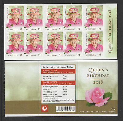 Australia 2018 : Queen's Birthday - Booklet of 10 x $1.00 Self-adhesive Stamps