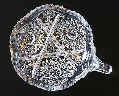 """Beautiful antique ABP cut-glass hobstar nappy bowl, 5"""", detailed, serrated edge"""