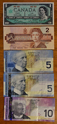 Lot of $1,2,5,5,&10 Dollars Bank of Canada OTTAWA Banknotes in Great Shape WOW!