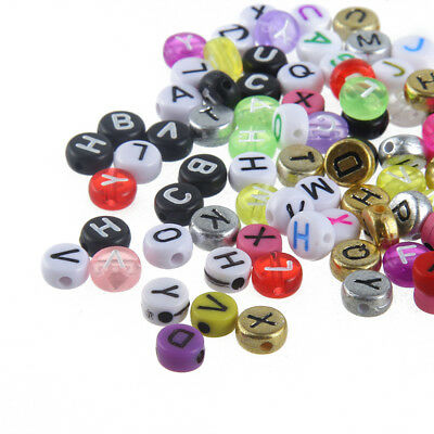 200X Mixed Color Flat Round Acrylic Alphabet//Letter Spacer Loose Beads A-Z 4*7MM