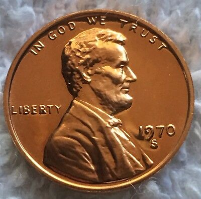 1970-S Proof Lincoln Cent Mirror Finish Pulled From U.s. Mint Set Wow Look