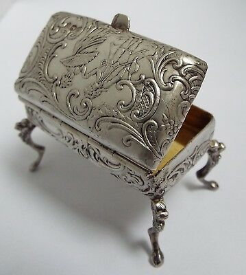 Superb English Antique 1891 Solid Silver Novelty Piano Stool Sewing Needle Box