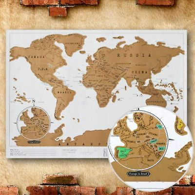 New Deluxe Travel Edition Personalized Journal Map Scratch Off World Map Poster