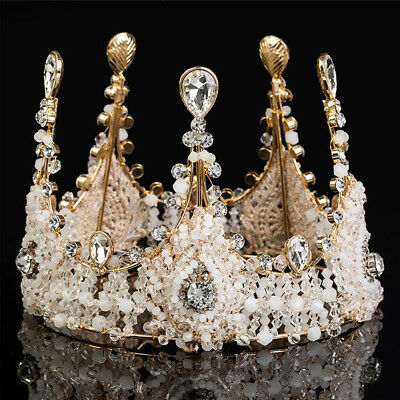 Baroque Crystal Large Crown Queen Wedding Pageant Tiaras Bridal Hair Jewelry