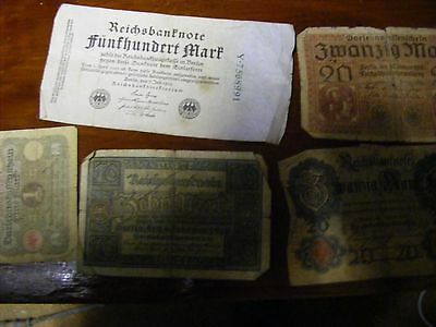 Germany...Lot of 5 Used Banknotes 1914-1923,Mostly WWI era.(B).